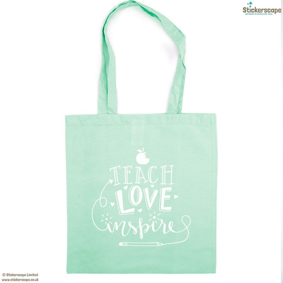 Teach, Love, Inspire tote bag (Mint bag - White text) | Teacher gifts | Stickerscape | UK
