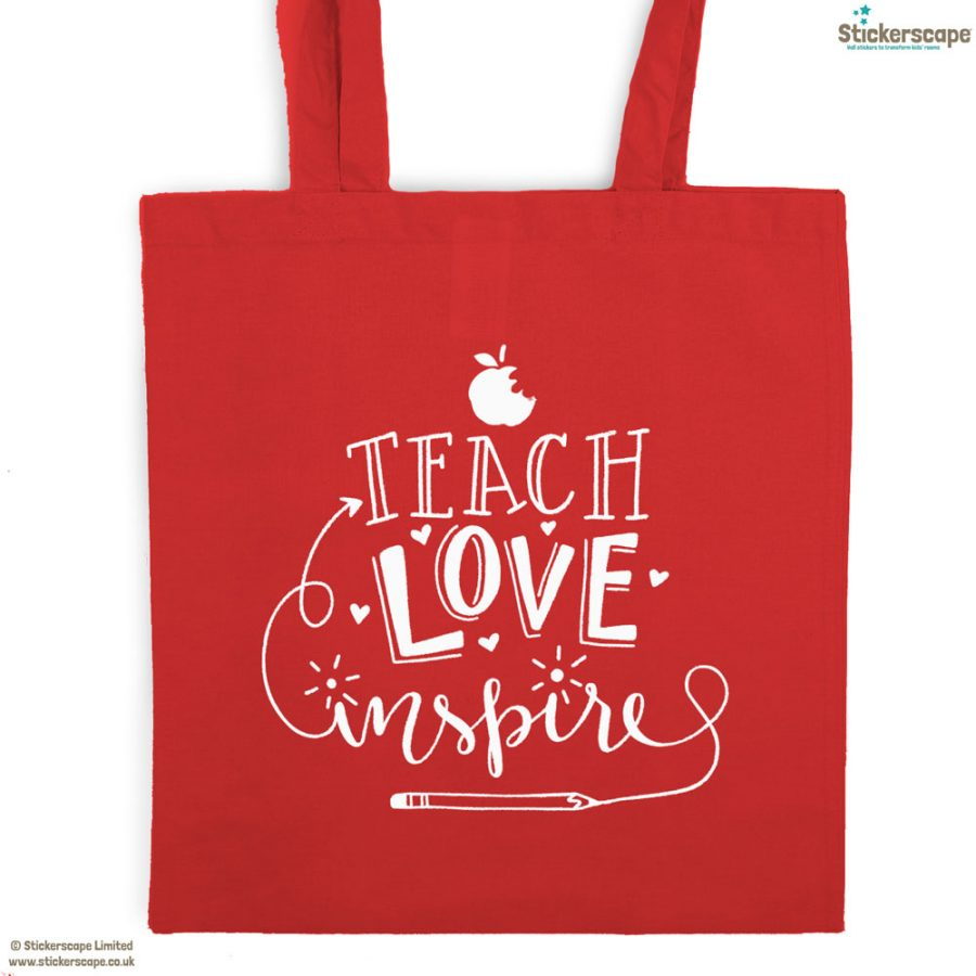 Teach, Love, Inspire tote bag (Red bag - White text) | Teacher gifts | Stickerscape | UK