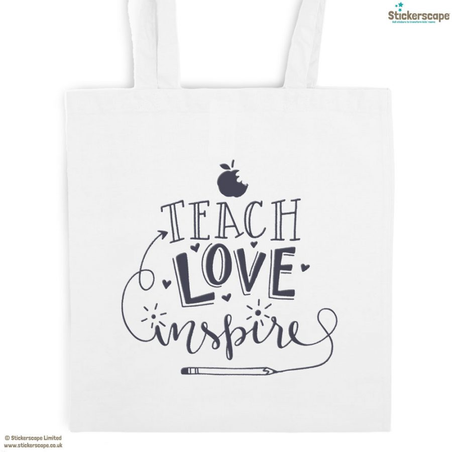 Teach, Love, Inspire tote bag (White bag - Anthracite text) | Teacher gifts | Stickerscape | UK