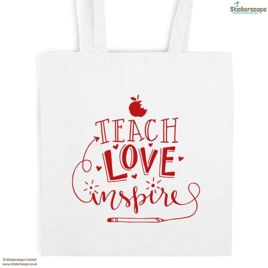 Teach, Love, Inspire tote bag (White bag - Red text) | Teacher gifts | Stickerscape | UK