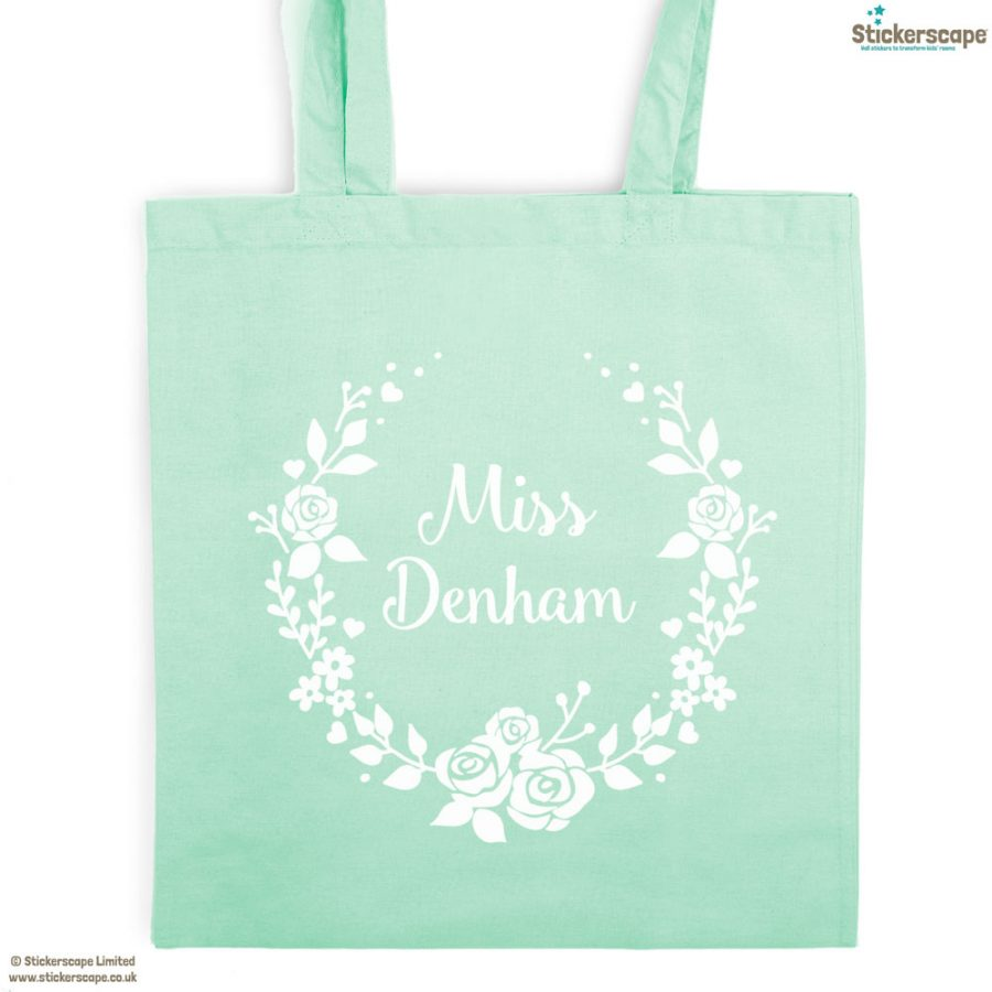 Personalised wreath tote bag (Mint bag - White text) | Personalised gifts | Stickerscape | UK