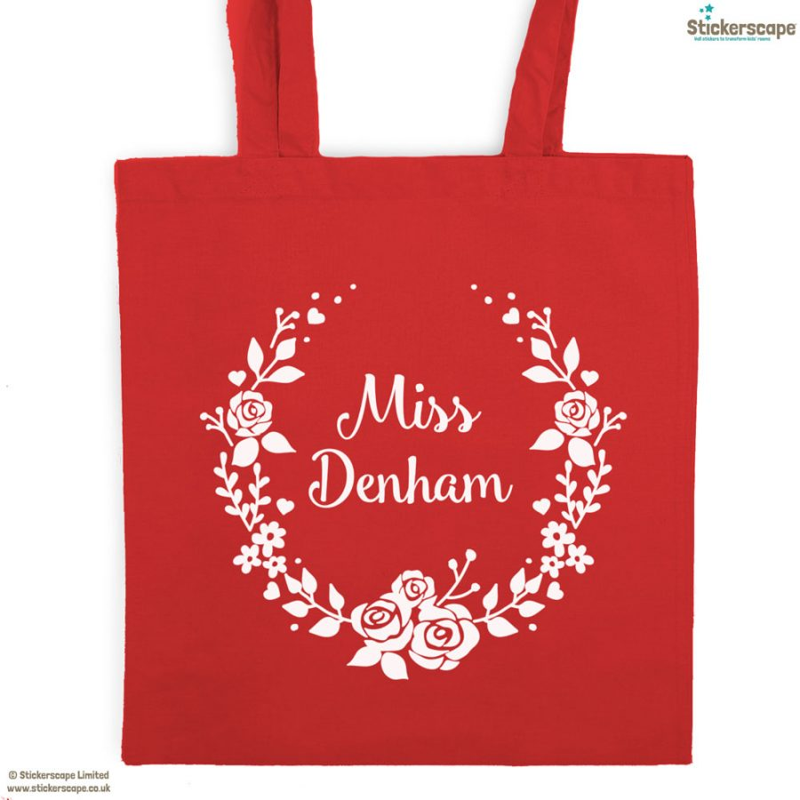 Personalised wreath tote bag (Red bag - White text) | Personalised gifts | Stickerscape | UK
