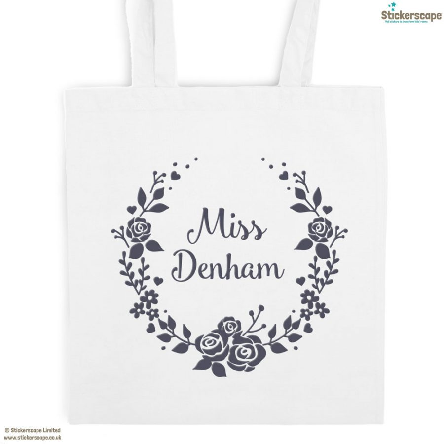 Personalised wreath tote bag (White bag - Anthracite text) | Personalised gifts | Stickerscape | UK