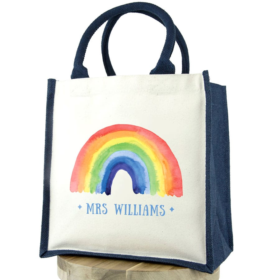 Personalised rainbow canvas bag (Navy bag) a perfect gift to say thank for a family member, teacher, friend or carer