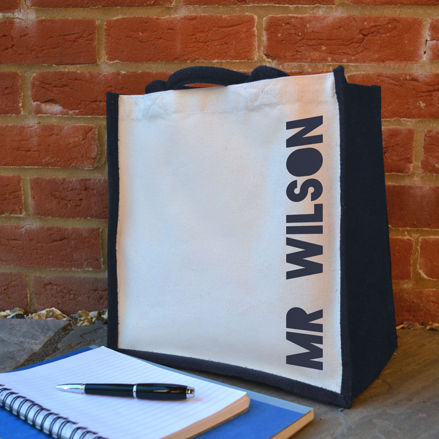Personalised canvas bag (Navy bag - navy text) perfect as a thank you gift for teachers