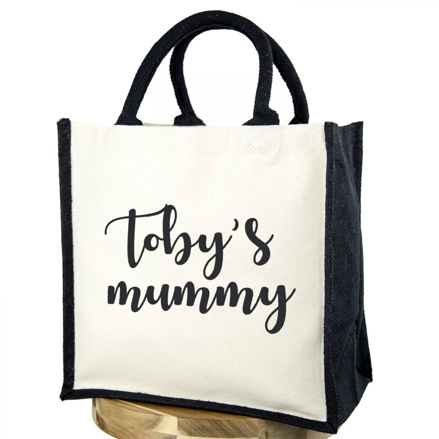 Personalised mummy canvas bag (Black bag - Black text) | Gifts for mum | Stickerscape | UK