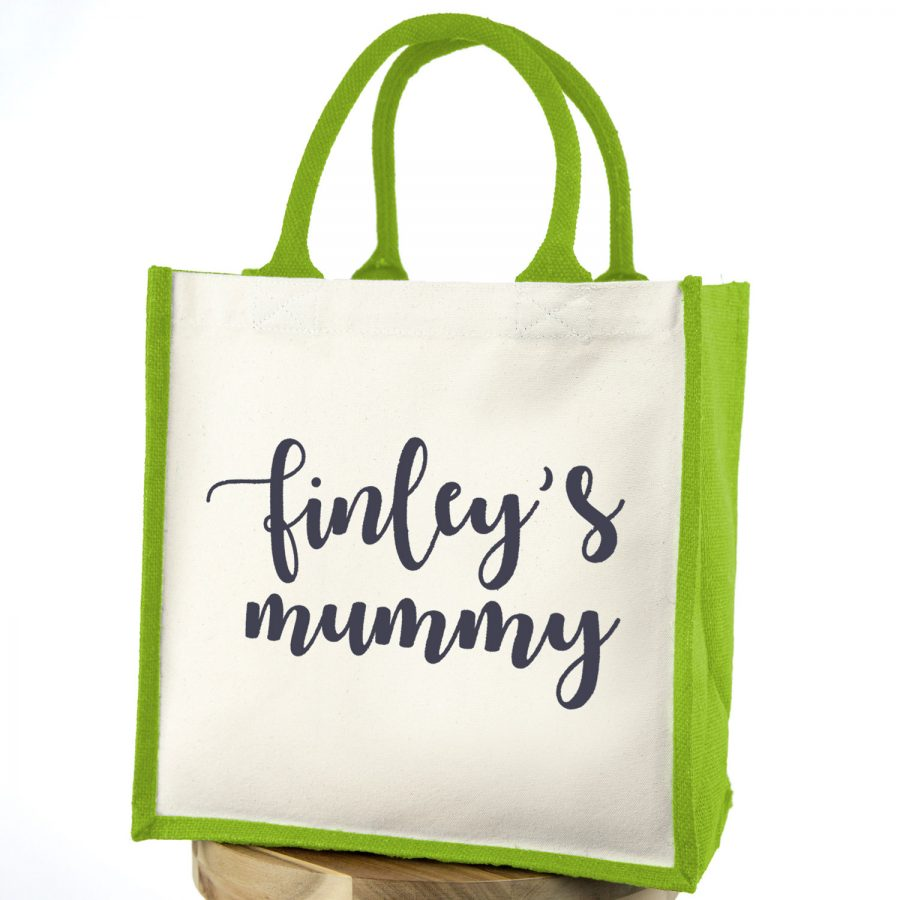 Personalised mummy canvas bag (Green bag - Anthracite text) | Gifts for mum | Stickerscape | UK