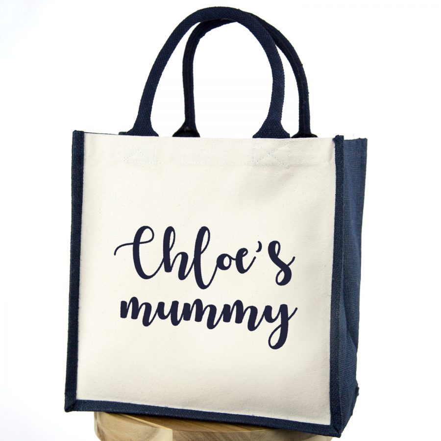 Personalised mummy canvas bag (Navy bag - Navy text) | Gifts for mum | Stickerscape | UK