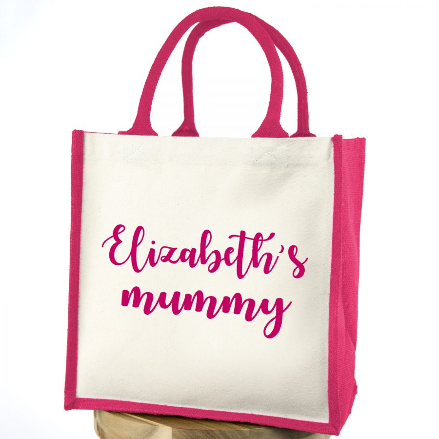 Personalised mummy canvas bag (Pink bag - Pink text) | Gifts for mum | Stickerscape | UK