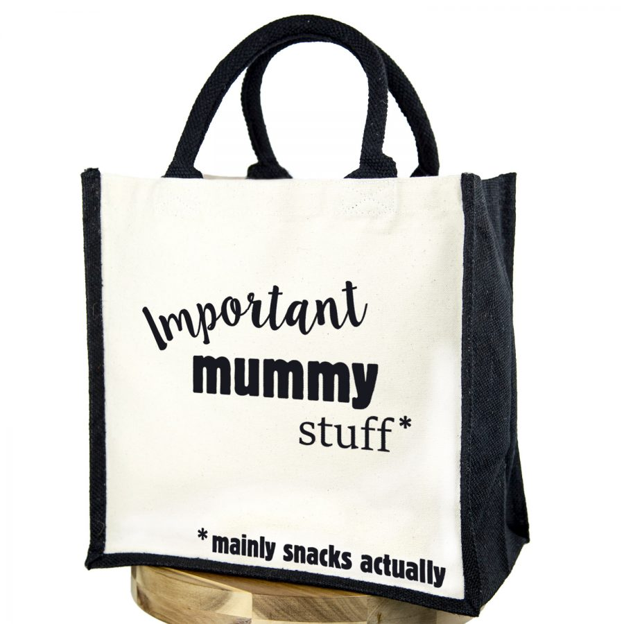 Important mummy stuff canvas bag (Black bag - Black text) | Gifts for mum | Stickerscape | UK