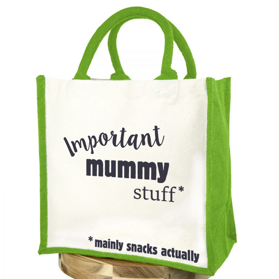 Important mummy stuff canvas bag (Green bag - Anthracite text) | Gifts for mum | Stickerscape | UK