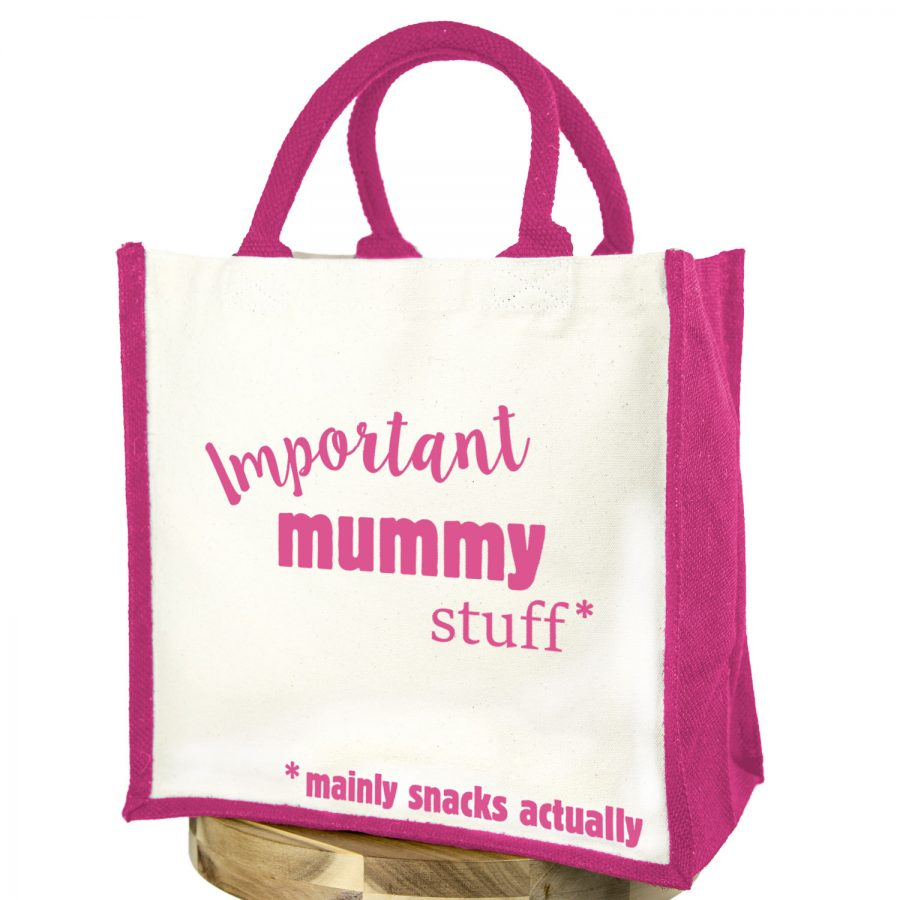 Important mummy stuff canvas bag (Pink bag - Pink text) | Gifts for mum | Stickerscape | UK