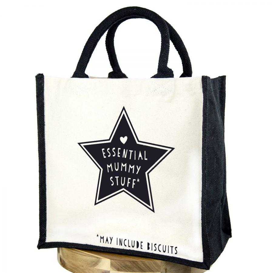 Essential mummy stuff (Black text - Black bag) | Gifts for mum | Stickerscape | UK