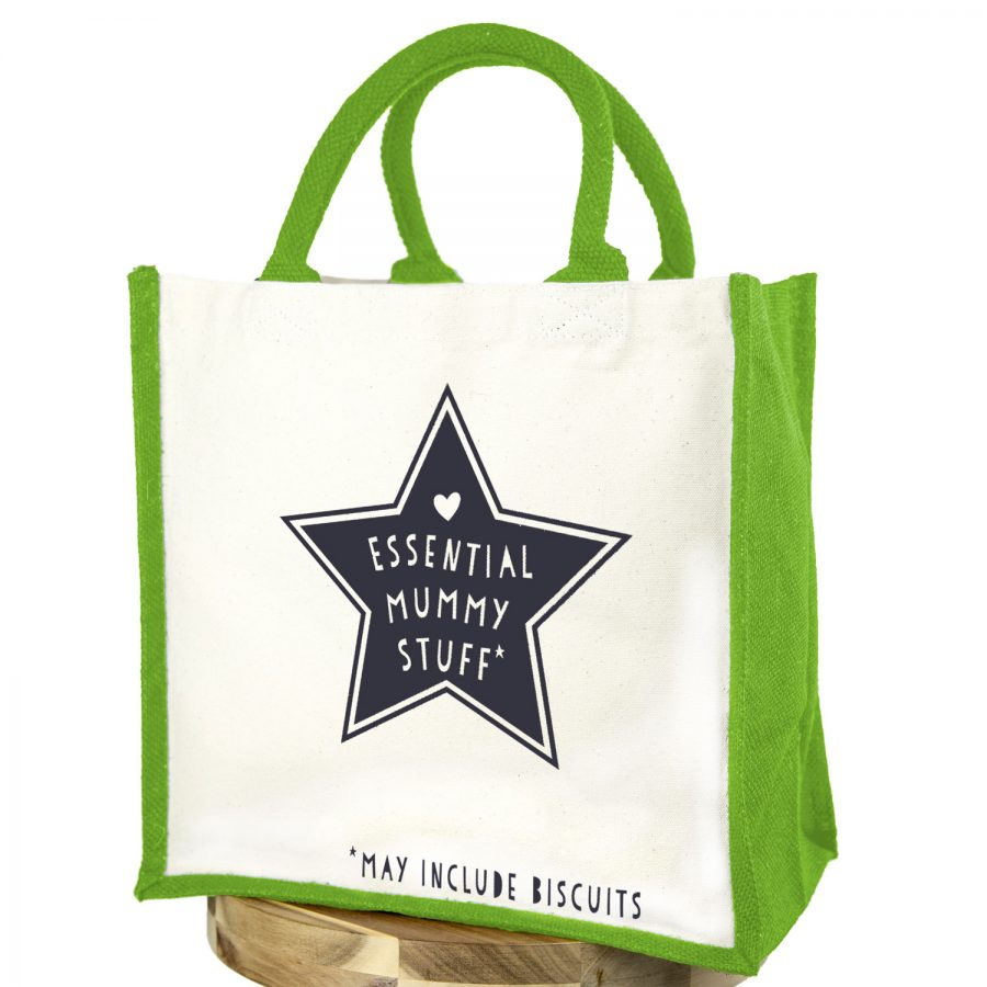 Essential mummy stuff (Anthracite text - Green bag) | Gifts for mum | Stickerscape | UK
