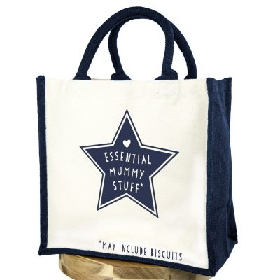 Essential mummy stuff (Navy text - Navy bag) | Gifts for mum | Stickerscape | UK