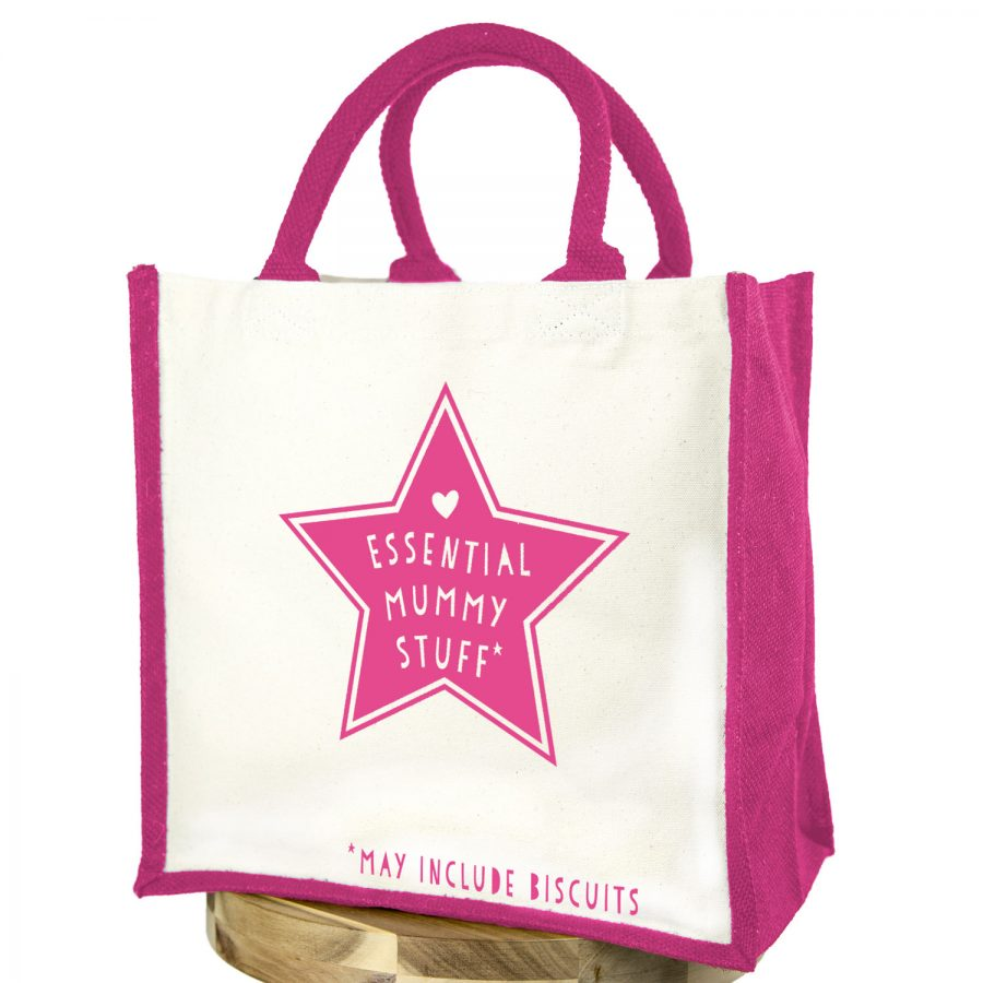Essential mummy stuff (Pink text - Pink bag) | Gifts for mum | Stickerscape | UK