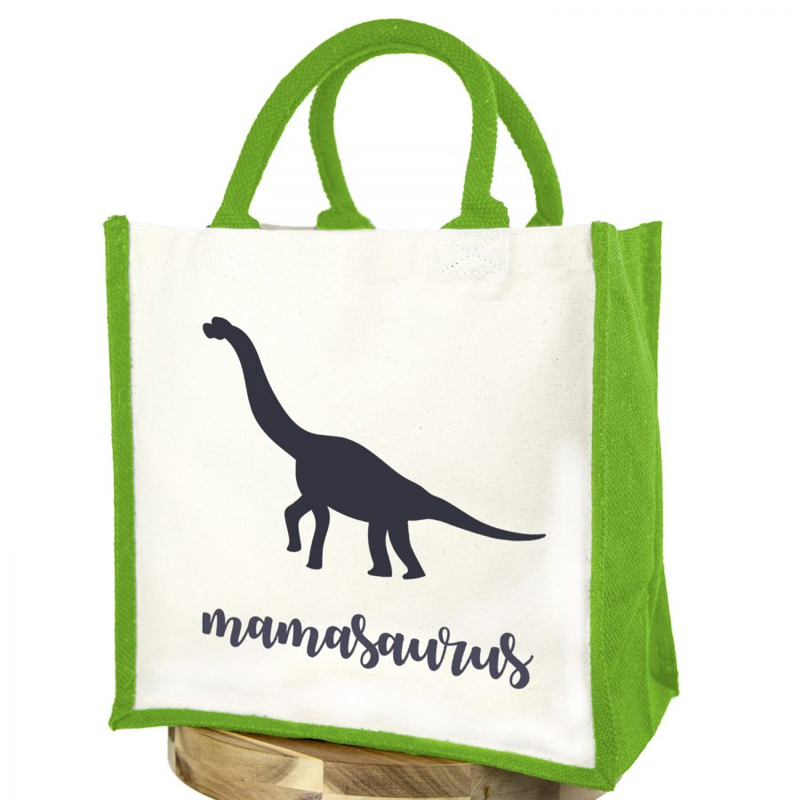 Mamasaurus canvas bag (Green bag - Anthracite text) | Canvas bag | Stickerscape | UK