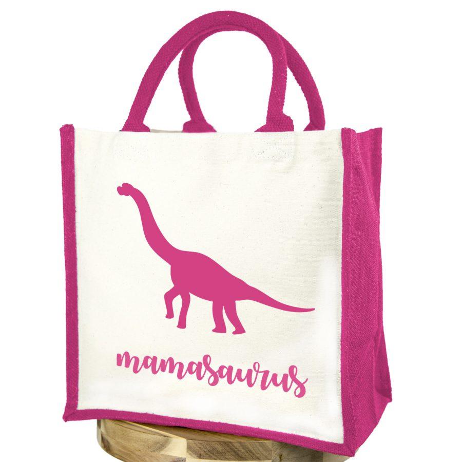 Mamasaurus canvas bag (Pink bag - Pink text) | Canvas bag | Stickerscape | UK