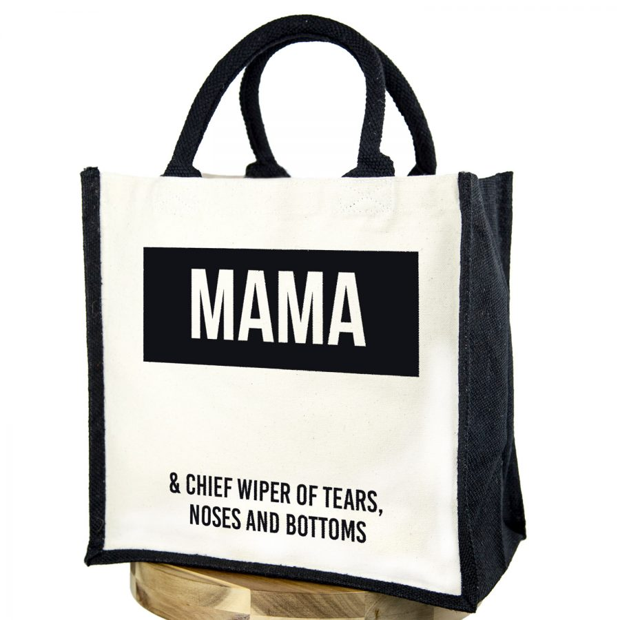 Mama canvas bag (Black bag - Black text) | Gifts for mum | Stickerscape | UK