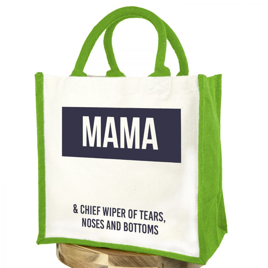 Mama canvas bag (Green bag - Anthracite text) | Gifts for mum | Stickerscape | UK