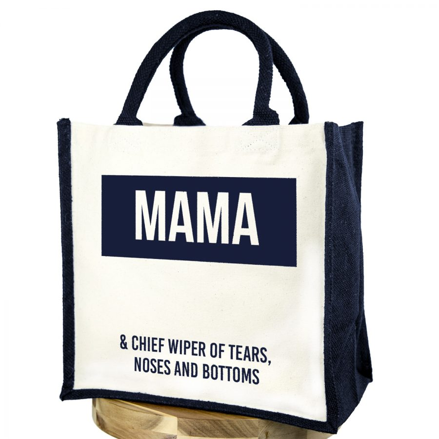 Mama canvas bag (Navy bag - Navy text) | Gifts for mum | Stickerscape | UK