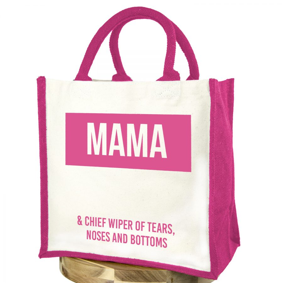 Mama canvas bag (Pink bag - Pink text) | Gifts for mum | Stickerscape | UK