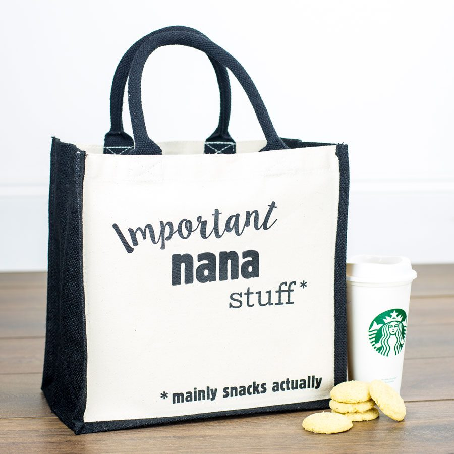 Important nana stuff canvas bag | Gifts for nana | Stickerscape | UK