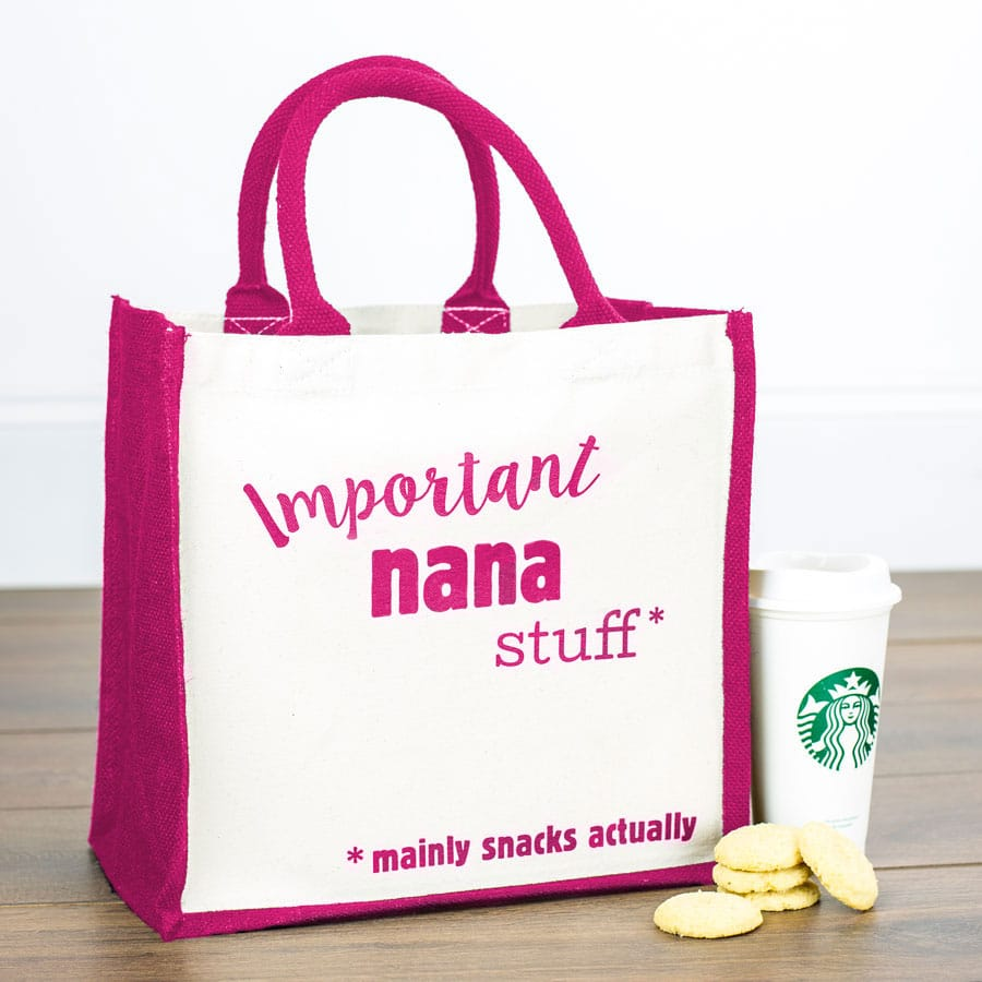 Important Nana stuff canvas bag (Pink bag) perfect as a gift for Grandma or for Mother's day