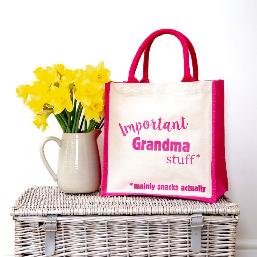 Important Grandma stuff canvas bag (Pink bag) perfect as a gift for Grandma or for Mother's day