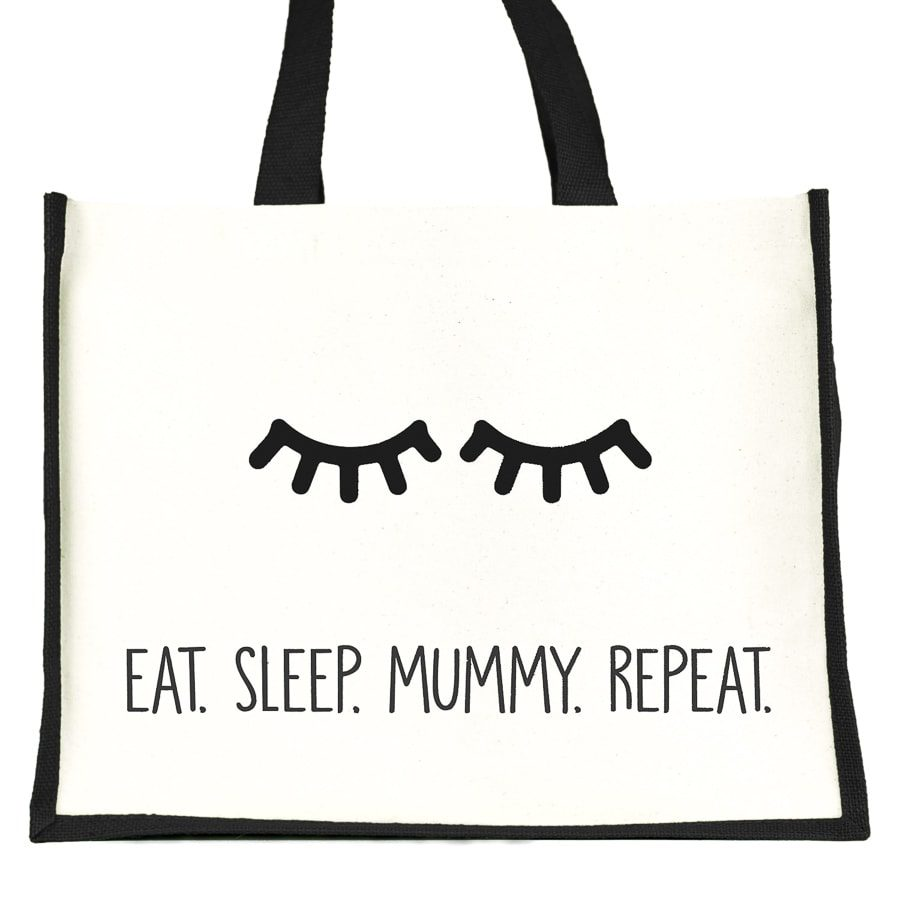 Eat. Sleep. Mummy. Repeat shopper bag (Black) | Gifts for mum | Stickerscape | UK
