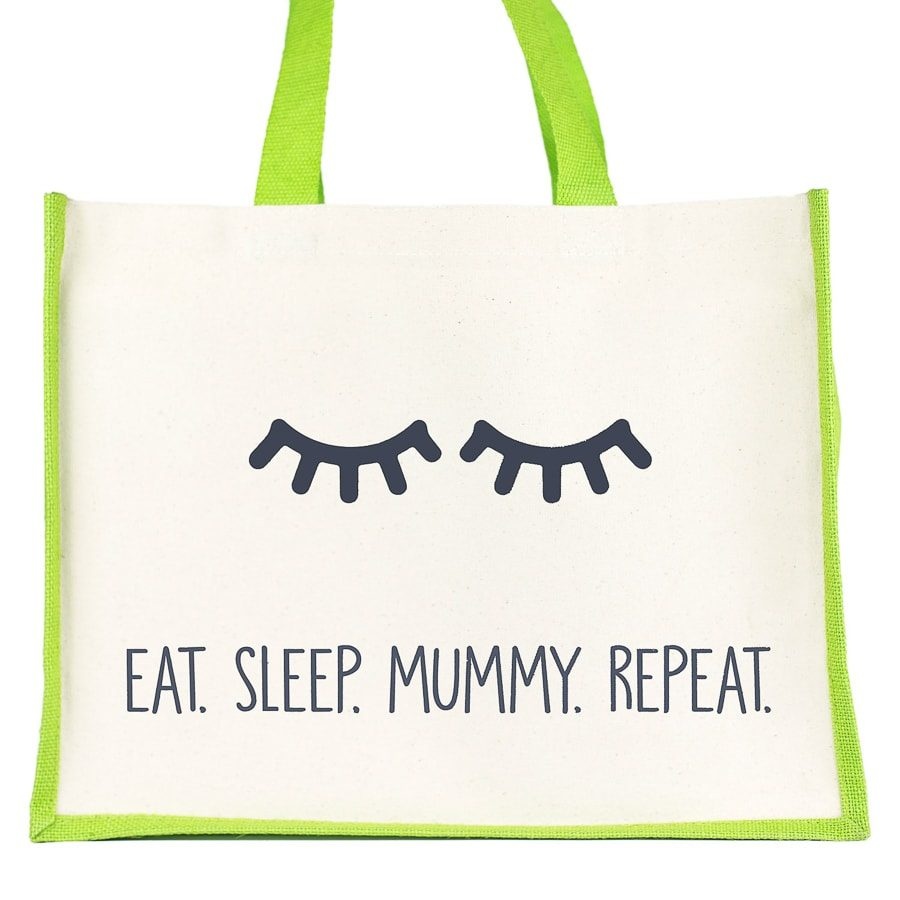 Eat. Sleep. Mummy. Repeat shopper bag (Green) | Gifts for mum | Stickerscape | UK