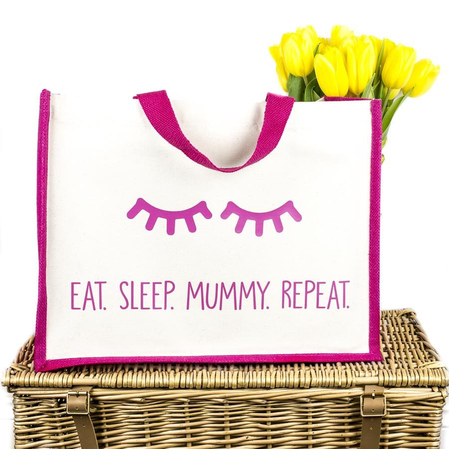 Eat. Sleep. Mummy. Repeat shopper bag (Pink) | Gifts for mum | Stickerscape | UK