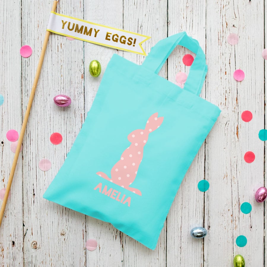 This personalised pink bunny Easter bag in lilac is the perfect way to make your child's Easter egg hunt super special this year