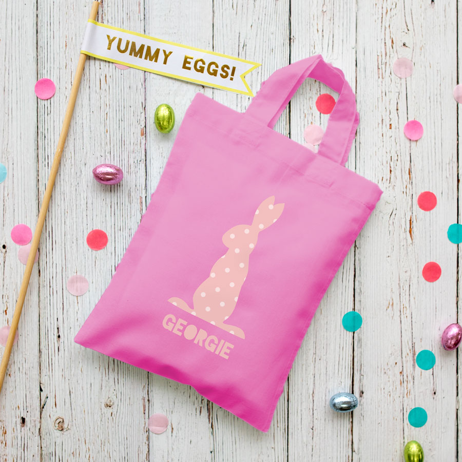 This personalised pink bunny Easter bag in pink is the perfect way to make your child's Easter egg hunt super special this year