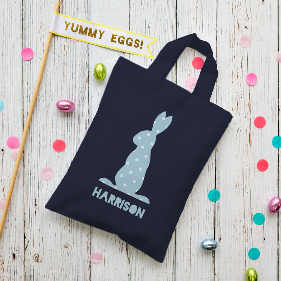 This personalised blue bunny Easter bag in french navy is the perfect way to make your child's Easter egg hunt super special this year