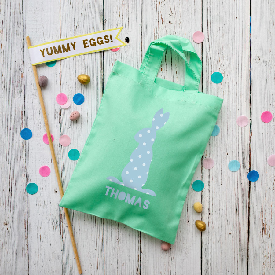 This personalised blue bunny Easter bag in mint green is the perfect way to make your child's Easter egg hunt super special this year