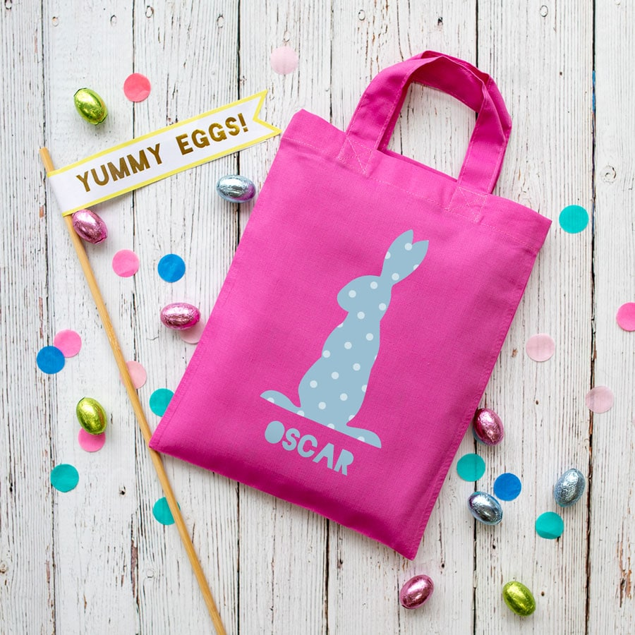 This personalised blue bunny Easter bag in pink is the perfect way to make your child's Easter egg hunt super special this year