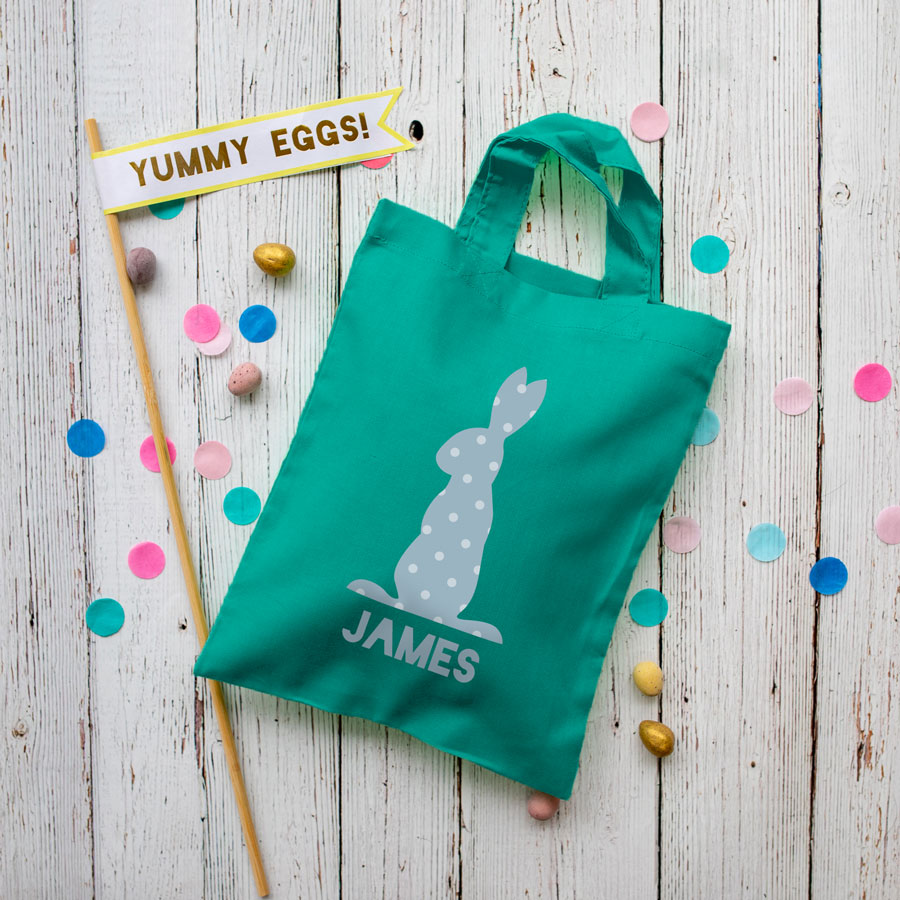 This personalised blue bunny Easter bag in teal is the perfect way to make your child's Easter egg hunt super special this year