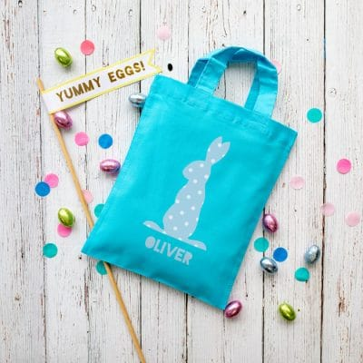 This personalised blue bunny Easter bag in lilac is the perfect way to make your child's Easter egg hunt super special this year
