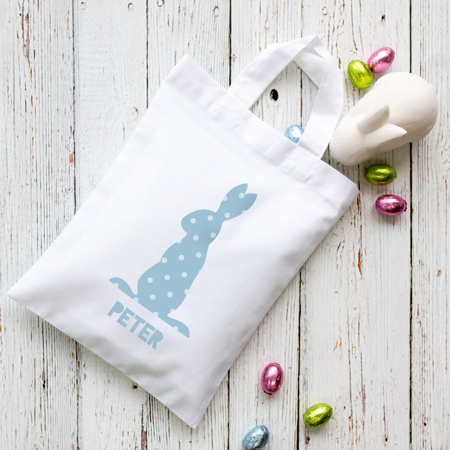 This personalised blue bunny Easter bag in white is the perfect way to make your child's Easter egg hunt super special this year