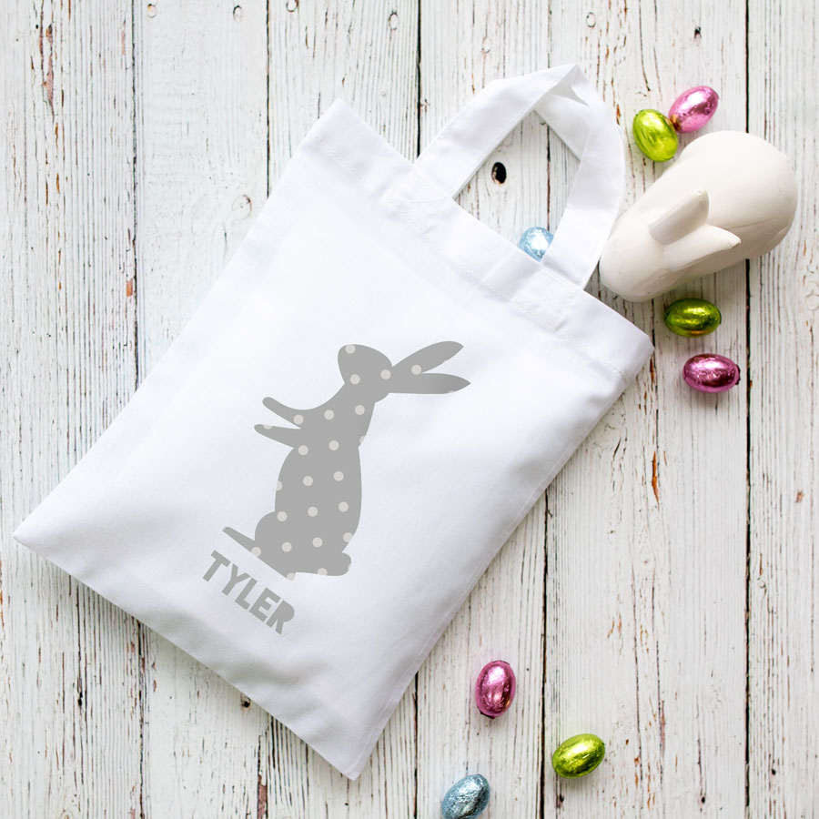 This personalised grey bunny Easter bag in white is the perfect way to make your child's Easter egg hunt super special this year