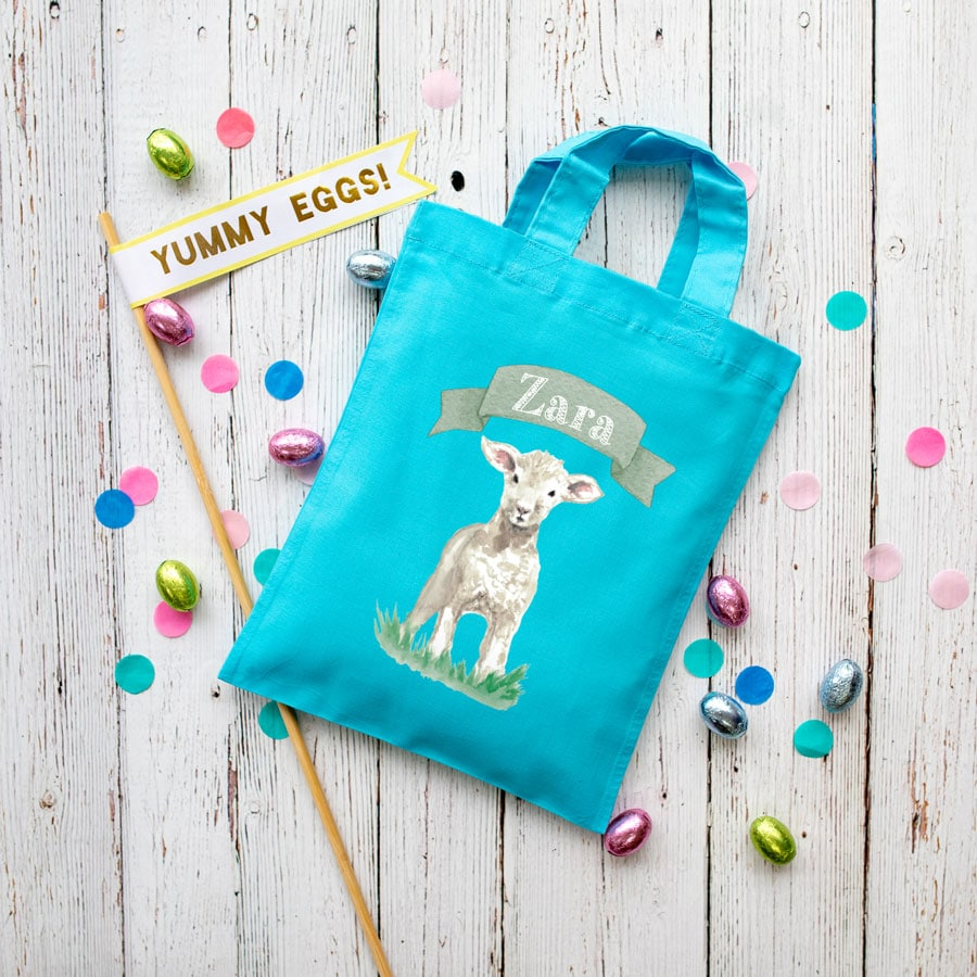 Personalised lamb Easter bag (Turquoise bag) is the perfect way to make your child's Easter egg hunt super special this year