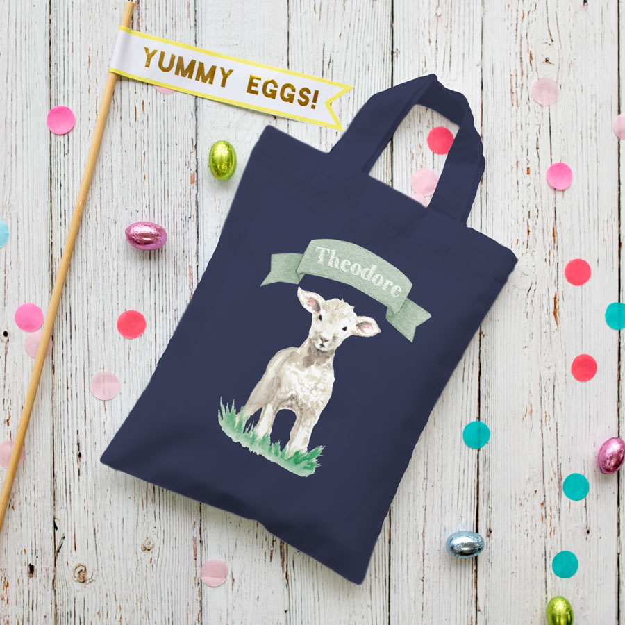 Personalised lamb Easter bag (French navy bag) is the perfect way to make your child's Easter egg hunt super special this year