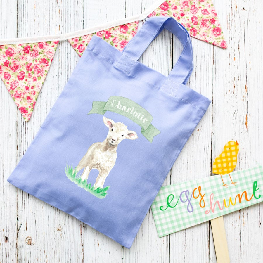Personalised lamb Easter bag (Lilac bag) is the perfect way to make your child's Easter egg hunt super special this year