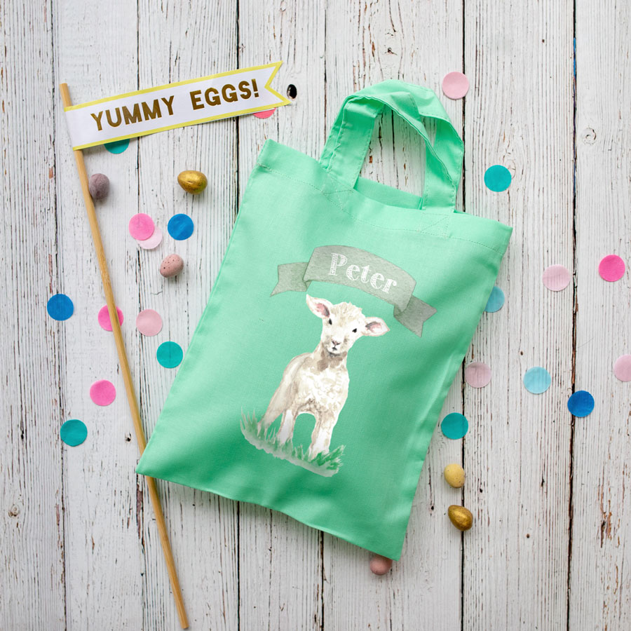 Personalised lamb Easter bag (Mint bag) is the perfect way to make your child's Easter egg hunt super special this year