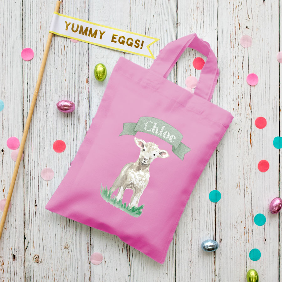 Personalised lamb Easter bag (Pink bag) is the perfect way to make your child's Easter egg hunt super special this year
