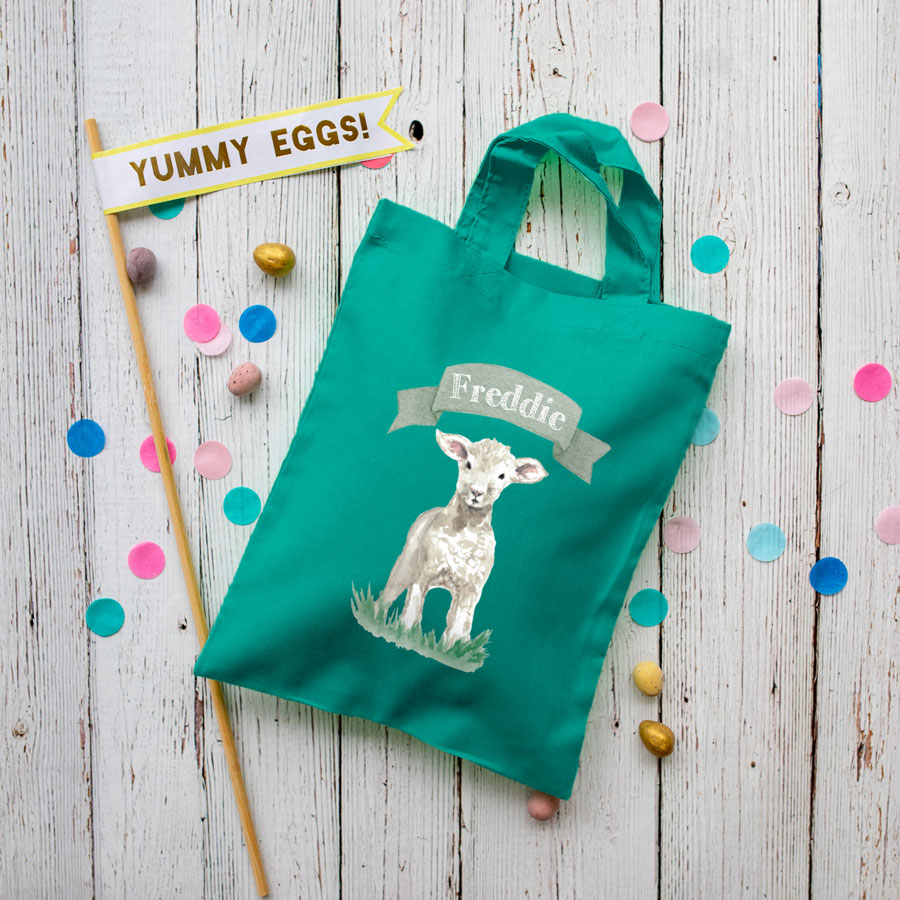 Personalised lamb Easter bag (Teal bag) is the perfect way to make your child's Easter egg hunt super special this year