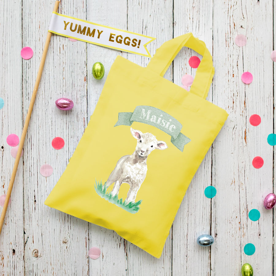 Personalised lamb Easter bag (Yellow bag) is the perfect way to make your child's Easter egg hunt super special this year