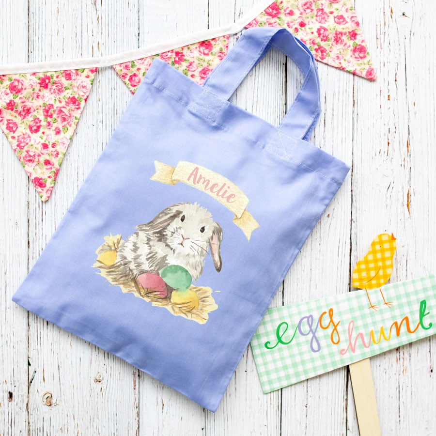 Personalised bunny Easter bag (Lilac bag) is the perfect way to make your child's Easter egg hunt super special this year