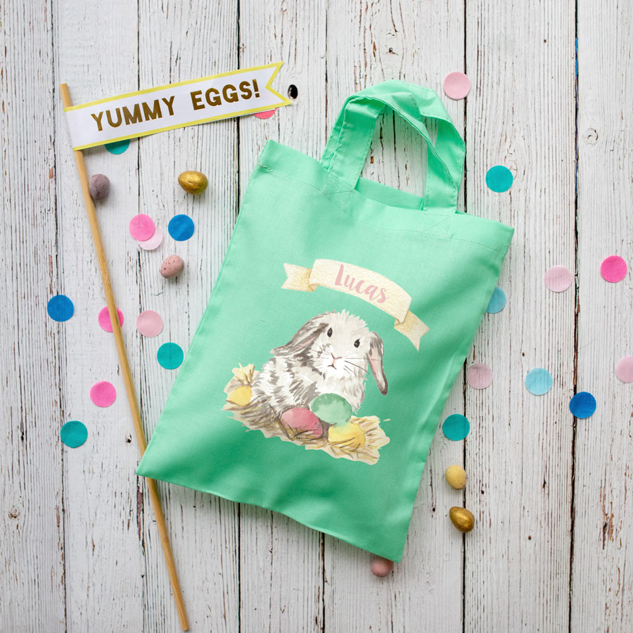 Personalised bunny Easter bag (Mint bag) is the perfect way to make your child's Easter egg hunt super special this year
